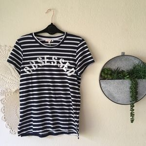 """Sundry """"Obsessed"""" black white striped graphic tee"""
